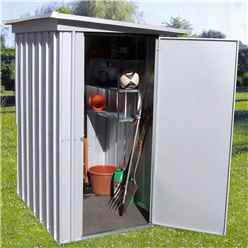 "3' 5"" x 4' 9"" Pent Metal Shed + FREE ANCHOR KIT (1.04m x 1.44m)"