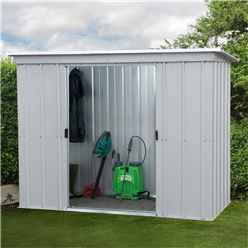 "7' 5"" x 3' 5"" Pent Metal Shed + FREE ANCHOR KIT (2.24m x 1.04m)"