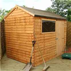 6 x 8 Value Reverse Wooden Overlap Apex Shed With 1 Window And Single Door (10mm Solid OSB Floor) - 48HR + SAT Delivery*