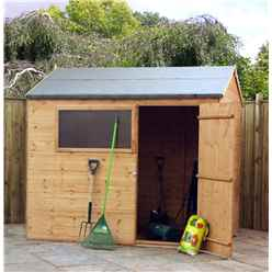 6 x 8 Wooden Tongue and Groove Reverse Apex Garden Shed With 1 Window And Single Door (10mm Solid OSB Floor) - 48HR + SAT Delivery*