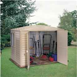 **PRE-ORDER: DUE BACK IN STOCK 19TH JUNE** 8 x 10 Deluxe Duramax Plastic PVC Shed With Steel Frame (3.04m x 2.43m)