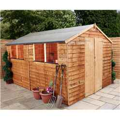 10 x 8 Buckingham Value Wooden Overlap Apex Wooden Garden Shed With 4 Windows And Double Doors (10mm Solid OSB Floor) - 48HR + SAT Delivery*