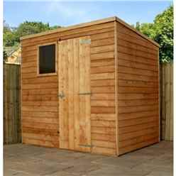 7 x 5 Buckingham Value Wooden Overlap Pent Wooden Garden Shed With 1 Window And Single Door (10mm Solid OSB Floor) - 48HR + SAT Delivery*
