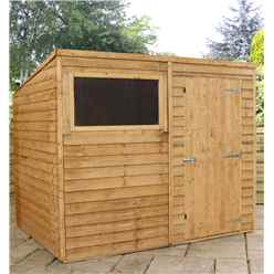 8 x 6 Buckingham Value Overlap Pent Wooden Garden Shed With 1 Window And Single Door (Solid 10mm OSB Floor) - 48HR + SAT Delivery*