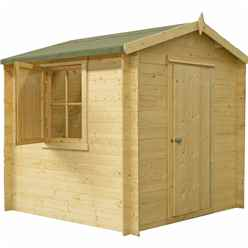 2.09m x 2.09m Log Cabin With Single Door - 19mm Wall Thickness