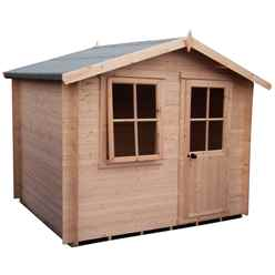 2.69m x 2.69m Log Cabin With Half Glazed Single Door - 19mm Wall Thickness