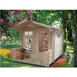 2.39m x 2.39m Log Cabin With Fully Glazed Single Door - 19mm Wall Thickness + optional veranda