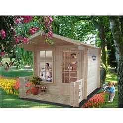 2.69m x 2.69m Log Cabin With Fully Glazed Single Door - 19mm Wall Thickness + optional verandah