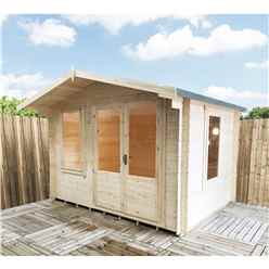 3.29m x 2.99m Log Cabin With Half Glazed Double Doors - 19mm Wall Thickness