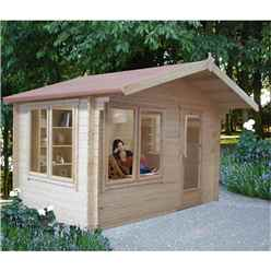 2.99m x 2.99m Log Cabin With Fully Glazed Single Door - 28mm Wall Thickness