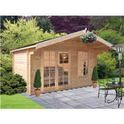 3.59m x 2.39m Log Cabin With Fully Glazed Double Doors - 28mm Wall Thickness